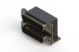 661-025-364-057 - Right-angle Dual Port D-Sub Connector