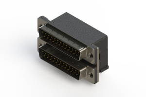 661-025-664-002 - Right-angle Dual Port D-Sub Connector