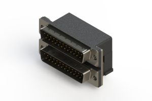 661-025-664-004 - Right-angle Dual Port D-Sub Connector