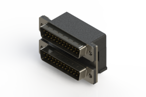 661-025-664-007 - Right-angle Dual Port D-Sub Connector
