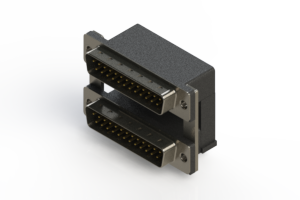 661-025-664-00A - Right-angle Dual Port D-Sub Connector