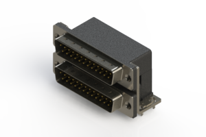 661-025-664-032 - Right-angle Dual Port D-Sub Connector