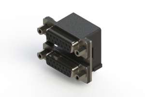 662-015-264-006 - Right-angle Dual Port D-Sub Connector