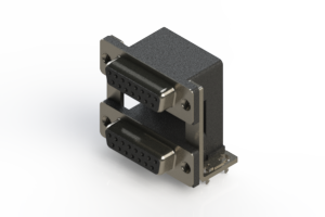662-015-264-038 - Right-angle Dual Port D-Sub Connector
