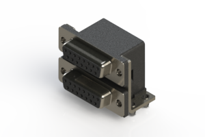 662-015-264-044 - Right-angle Dual Port D-Sub Connector