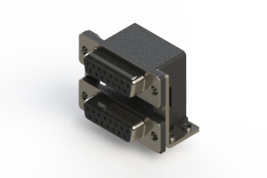 662-015-264-057 - Right-angle Dual Port D-Sub Connector