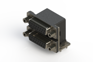 662-015-364-033 - Right-angle Dual Port D-Sub Connector