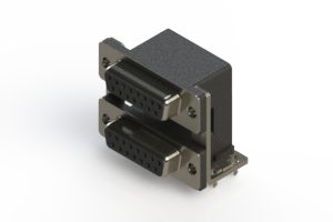 662-015-364-037 - Right-angle Dual Port D-Sub Connector