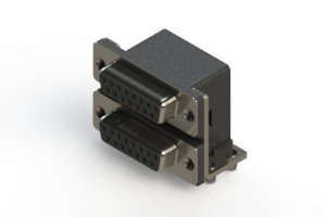 662-015-364-042 - Right-angle Dual Port D-Sub Connector
