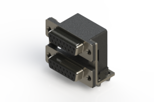 662-015-364-045 - Right-angle Dual Port D-Sub Connector