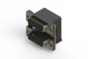 662-015-664-007 - Right-angle Dual Port D-Sub Connector
