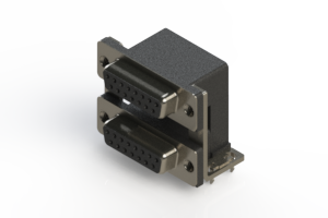 662-015-664-035 - Right-angle Dual Port D-Sub Connector