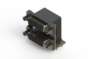662-015-664-036 - Right-angle Dual Port D-Sub Connector