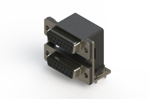 662-015-664-037 - Right-angle Dual Port D-Sub Connector