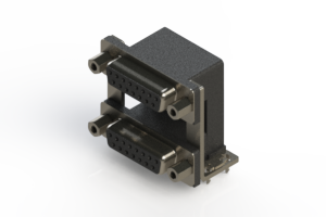 662-015-664-039 - Right-angle Dual Port D-Sub Connector