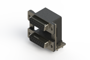 662-015-664-03A - Right-angle Dual Port D-Sub Connector
