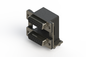 662-015-664-040 - Right-angle Dual Port D-Sub Connector