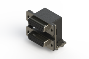662-015-664-045 - Right-angle Dual Port D-Sub Connector