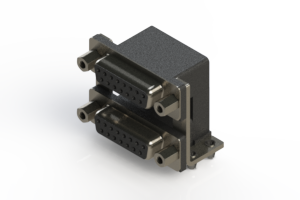662-015-664-046 - Right-angle Dual Port D-Sub Connector
