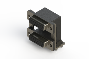 662-015-664-04C - Right-angle Dual Port D-Sub Connector