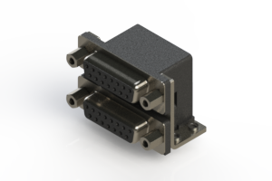 662-015-664-053 - Right-angle Dual Port D-Sub Connector