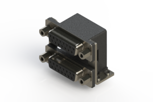 662-015-664-056 - Right-angle Dual Port D-Sub Connector