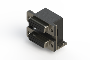 662-015-664-057 - Right-angle Dual Port D-Sub Connector
