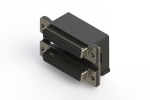 662-025-264-007 - Right-angle Dual Port D-Sub Connector