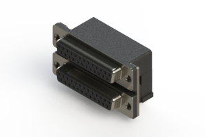 662-025-364-001 - Right-angle Dual Port D-Sub Connector