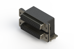 662-025-664-034 - Right-angle Dual Port D-Sub Connector