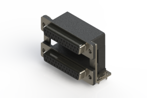 662-025-664-03C - Right-angle Dual Port D-Sub Connector