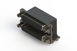662-025-664-043 - Right-angle Dual Port D-Sub Connector