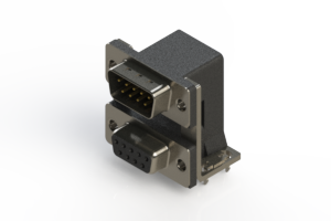 663-009-364-037 - Right-angle Dual Port D-Sub Connector