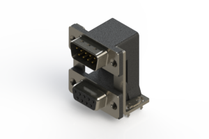 663-009-364-038 - Right-angle Dual Port D-Sub Connector
