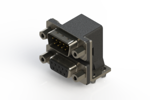 663-009-364-043 - Right-angle Dual Port D-Sub Connector