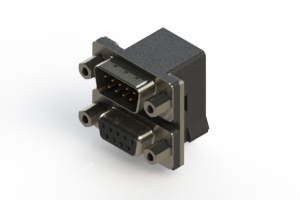 663-009-664-003 - Right-angle Dual Port D-Sub Connector