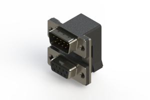 663-009-664-005 - Right-angle Dual Port D-Sub Connector