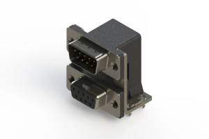 663-009-664-035 - Right-angle Dual Port D-Sub Connector