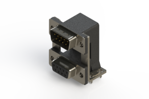 663-009-664-03C - Right-angle Dual Port D-Sub Connector