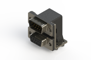 663-009-664-044 - Right-angle Dual Port D-Sub Connector