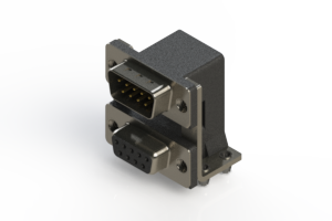 663-009-664-045 - Right-angle Dual Port D-Sub Connector