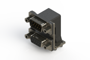 663-009-664-046 - Right-angle Dual Port D-Sub Connector