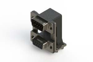 663-009-664-048 - Right-angle Dual Port D-Sub Connector