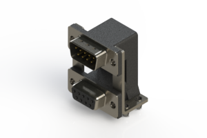 663-009-664-04C - Right-angle Dual Port D-Sub Connector