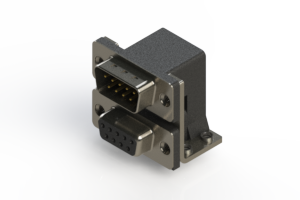 663-009-664-051 - Right-angle Dual Port D-Sub Connector