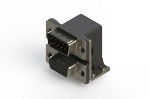 663-009-664-052 - Right-angle Dual Port D-Sub Connector