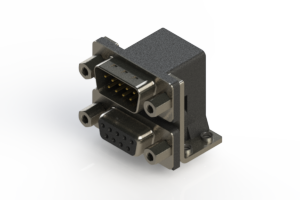 663-009-664-053 - Right-angle Dual Port D-Sub Connector