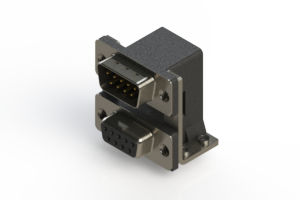 663-009-664-055 - Right-angle Dual Port D-Sub Connector