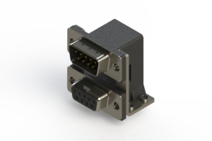 663-009-664-057 - Right-angle Dual Port D-Sub Connector