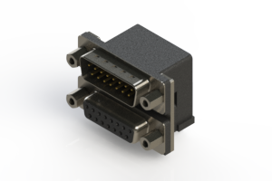 663-015-264-003 - Right-angle Dual Port D-Sub Connector